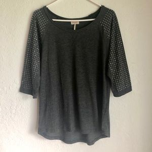 Grey 3/4 Rhinestone Sleeve Shirt